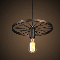 EEG LIGHTING Retro Antique Metal Art Large Barn Wheels Hanging Pendant Light E27 Holder Ceilight Lights