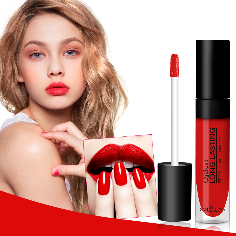 QiBest Matte Lip Colors Waterproof Liquid Lipstick Nude Long Lasting Lipgloss Makeup Lip Cream Tattoo Black Blue Cosmetic Kits 6