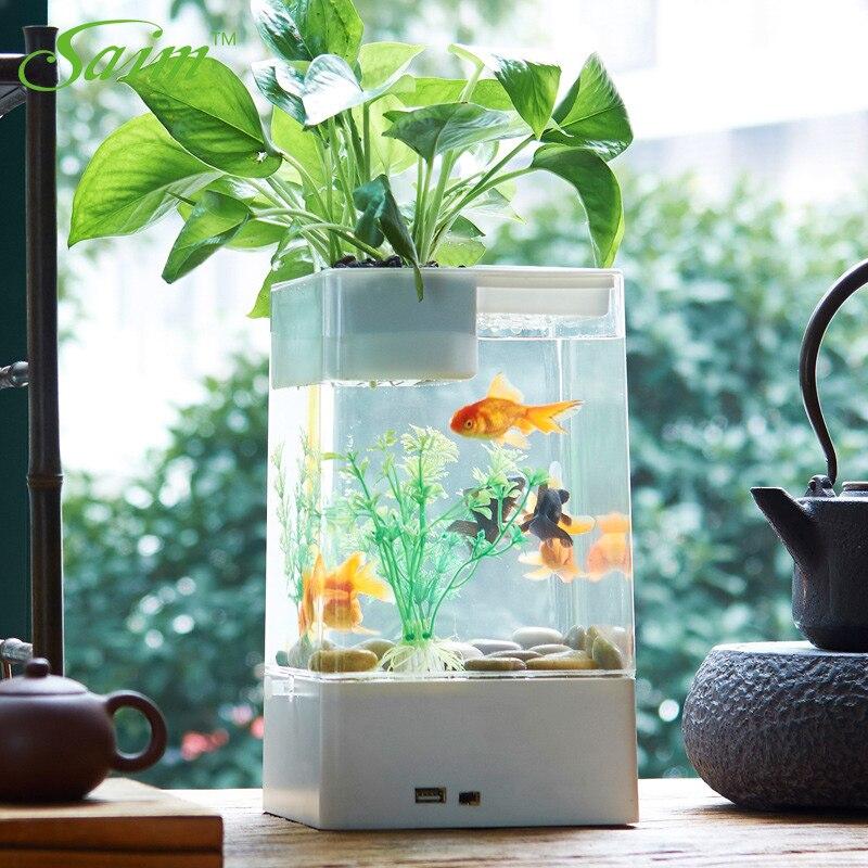 Saim Aquariums créatifs USB poisson bol LED coloré Aquarium éclairage plantes Aquarium bureau poissons boîte acrylique poisson rouge réservoir