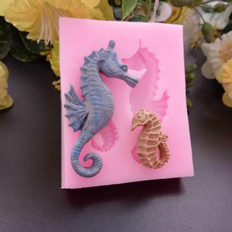 3D Sea Horse Silicone Sabão Molde Do Bolo Decoração Fondant de Chocolate Ferramentas Fazer Bolo Silicone Sugar craft Ferramenta