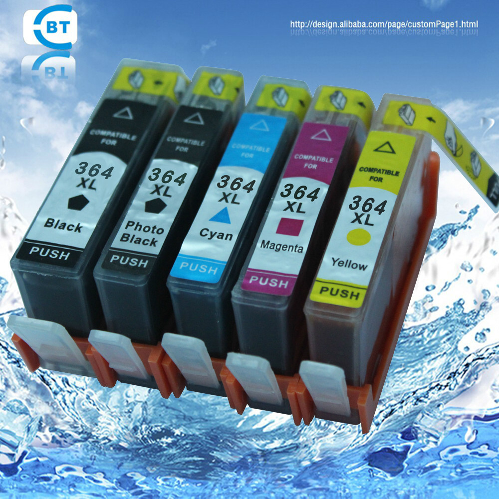 5pc თავსებადი HP364XL 364 მელნის კარტრიჯი C309a / C309n / g / C310a / C310b / C310c / C410b პრინტერისთვის