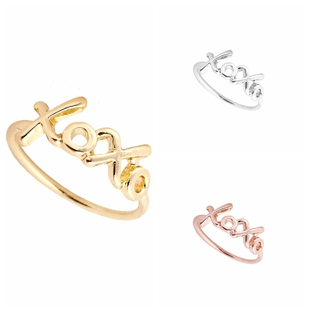 Hfarich Xoxo Ring Fashion Letter Wedding Rings For Women Couple