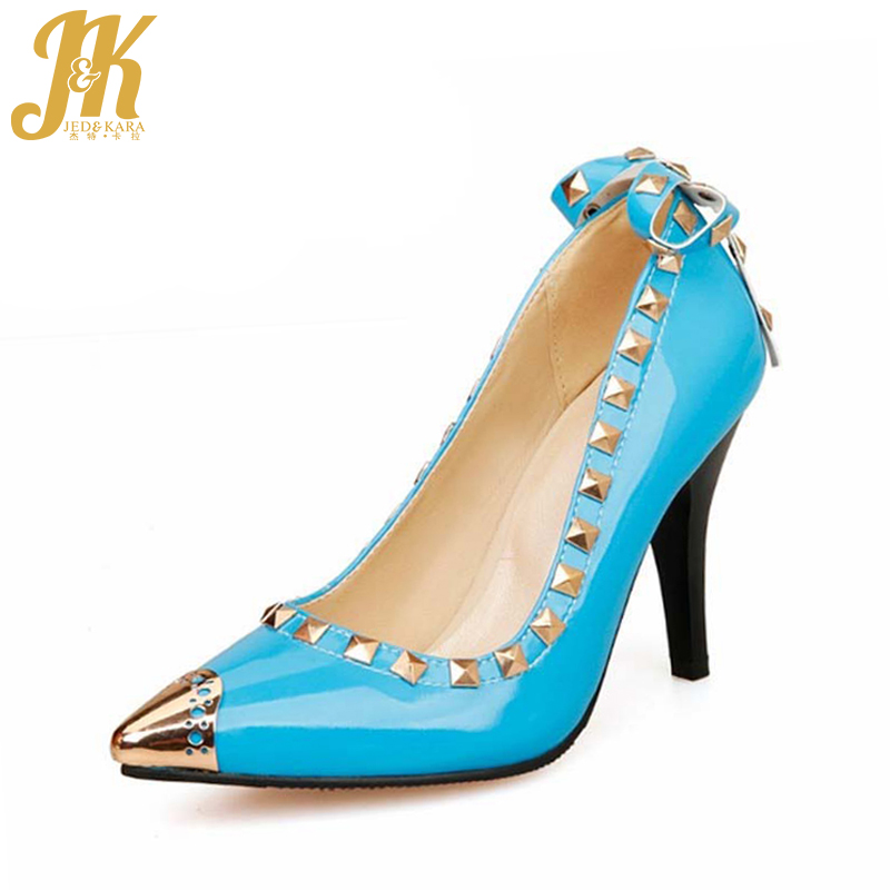 2016 Spring Women Pumps Sexy Pointed Toe High Heels Shoes Woman Bowtie Rivets Pumps Super Big Size 32-52 Zapatos Mujer New Style