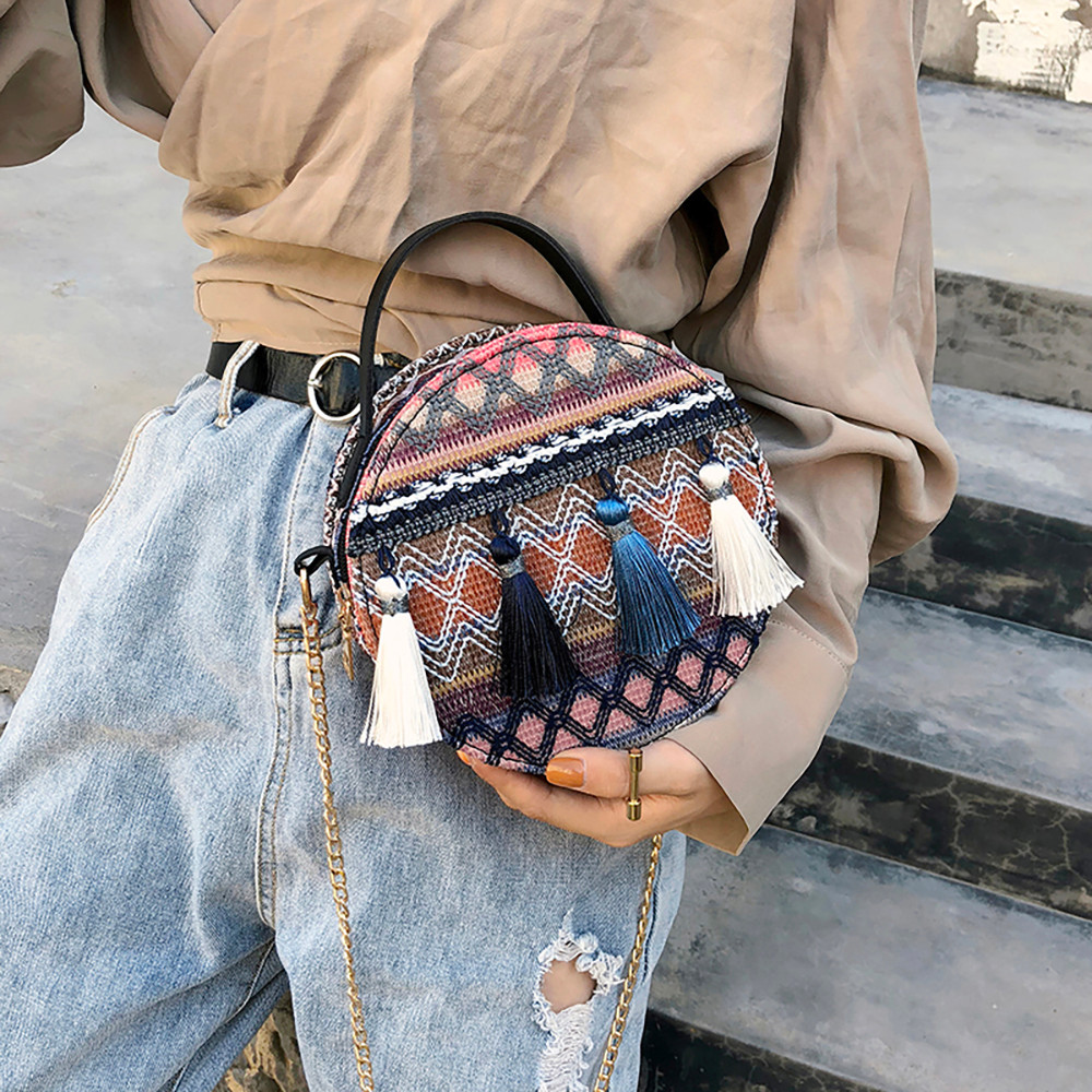 Women Tassel Chain Small Bags national wind round bag packet Lady Fashion Round Shoulder Bag Bolsos Mujer#A02 91