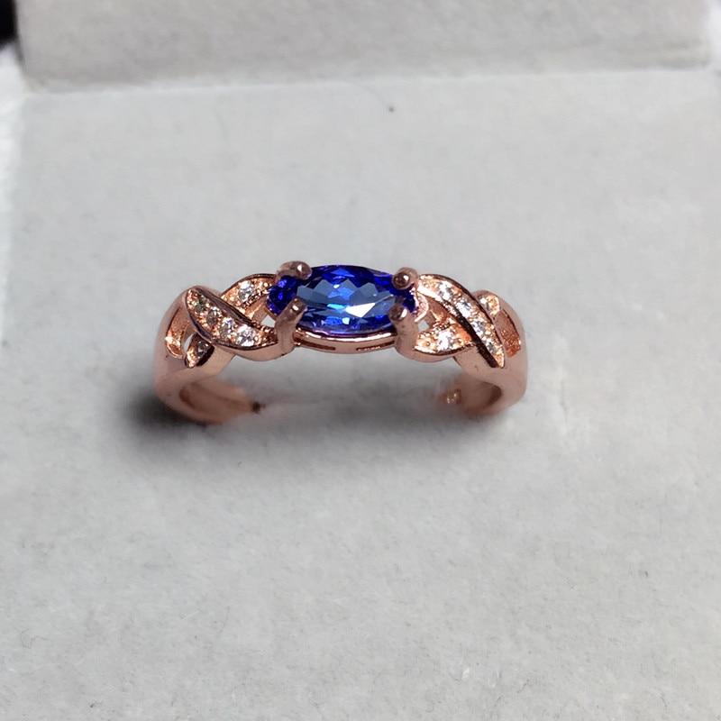 купить 2017 New Anillos Qi Xuan_Fashion Jewelry_Blue Stone Flower Rings_Rose Gold Color Woman Blue Stone Rings_Factory Directly Sales онлайн