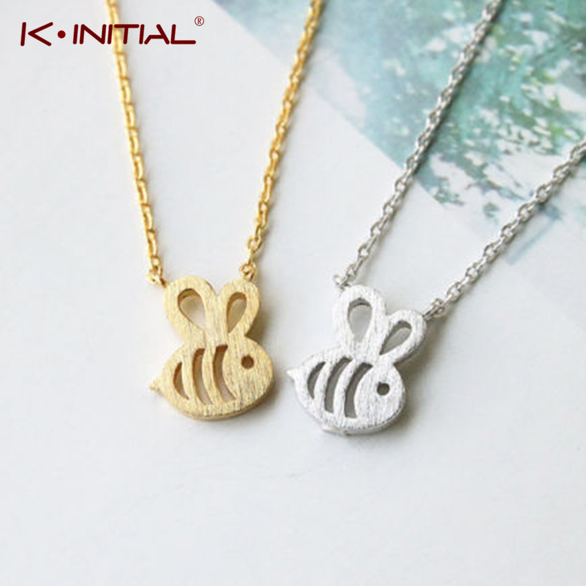 Kinitial 1Pcs Cute Little Animal Honey Bee Necklace & Pendant Jewelry Bumble Bee Pendant Necklace For Women Girls Collar Colar