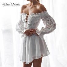 WildPinky Hollow Out off shoulder Dress Long Sleeves White Lace Dress Women Casual Sexy Embroidery Dress long sleeve Vestidos white lace details off the shoulder flared sleeves dress