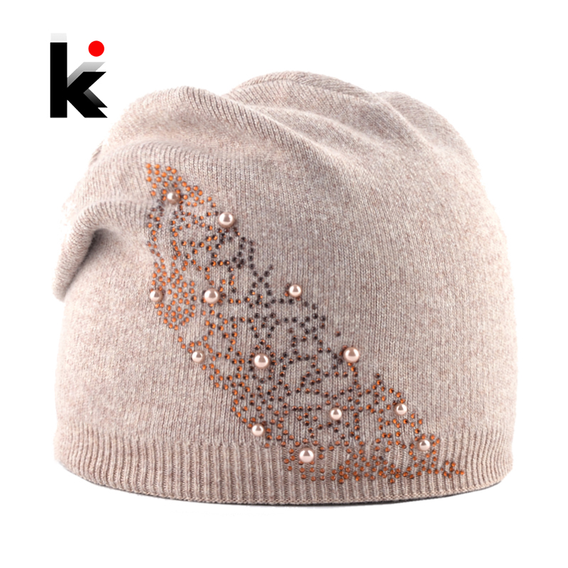 Fashion Knitted Solid Color Hat With Pearl Rhinestone Women Autumn Winter Warm Angora   Beanies   Cap Ladies Elegant   Skullies   Bonnet
