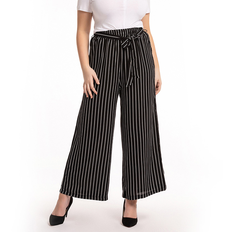 Pantalon Femme Verano 2019 High Waist   Wide     Leg     Pants   Plus Size Summer Women Full Length Black Stripe   Pants   Ladies Trousers Mujer