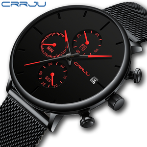 Mens Women StopWatches CRRJU Unique Design Luxury Sport Wrist Watch Stainless Steel Mesh Strap Men's Fashion Casual Date Watches(China)