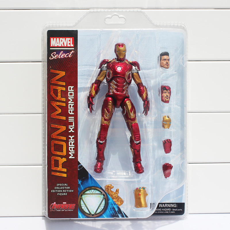 18cm Super Hero The Select Iron Man MK43 Mark XLIII Armor Iron Man PVC Action Figure Collectible Model Toy With Box
