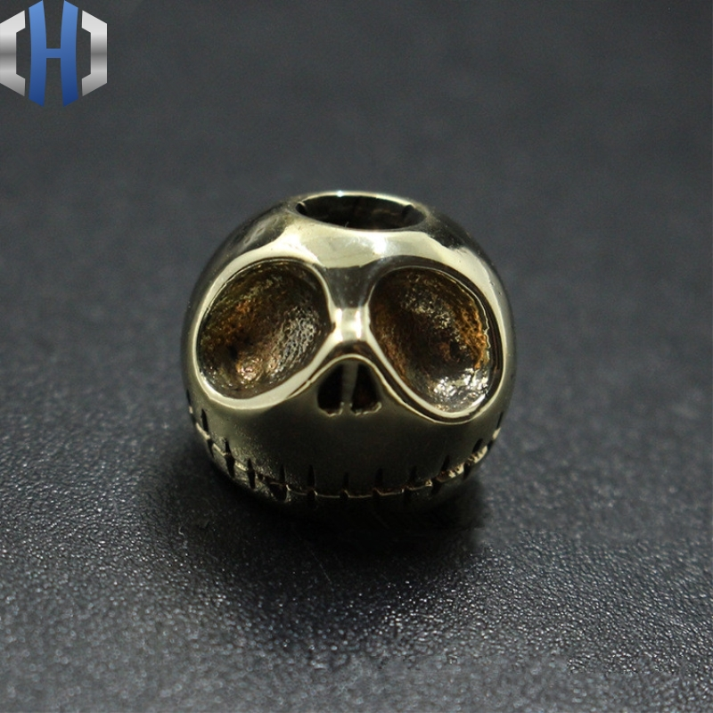 Knife Beads Pure Copper Pumpkin Knife Beads Brass Halloween Skull Beads Rope EDC Tools Survival Paracord Beads With 1m Paracords