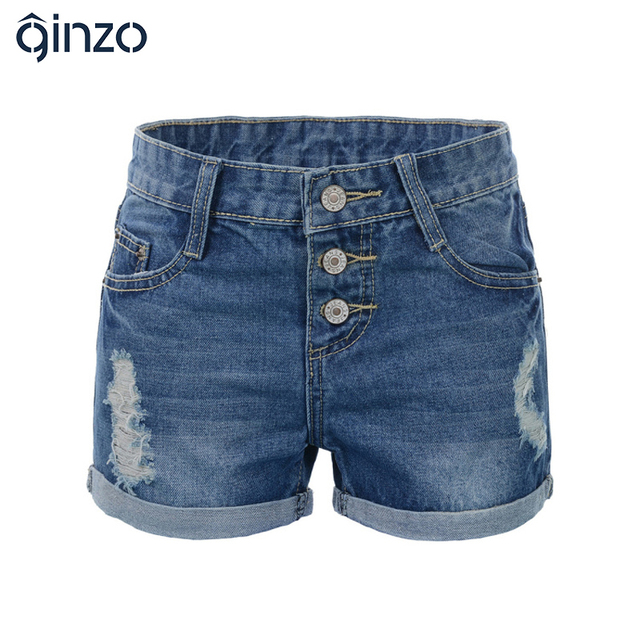 Más el tamaño de Gran tamaño pantalones cortos de mezclilla de las mujeres agujeros botones vuelan ruedan para arriba caliente vaqueros XXXXXXL Envío libre
