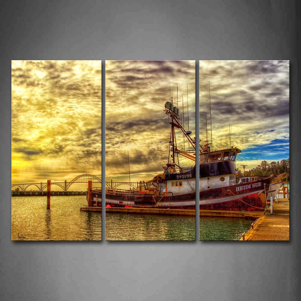 3 Piece Wall Art Painting Old Ship By The Sea And A Big Bridge Print ...
