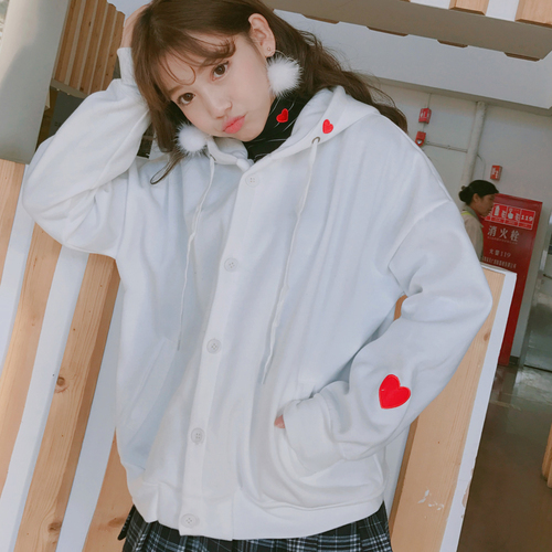 Japanese Kawaii Hoodies Women Winter 2018 Lolita Heart Embroidery Long Sleeve Pink Hoodie Fleece Hooded Jacket Tops Red T164