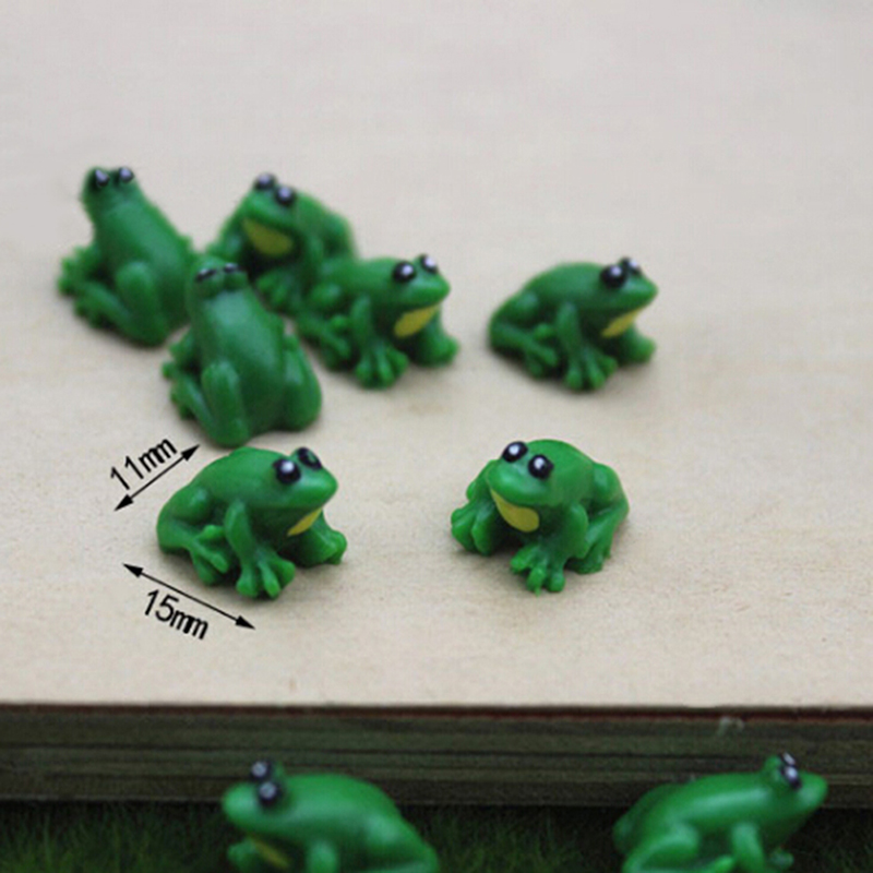 2 Pcs Little Frog Doll House Miniatures Diy Supplies Figurine Cute