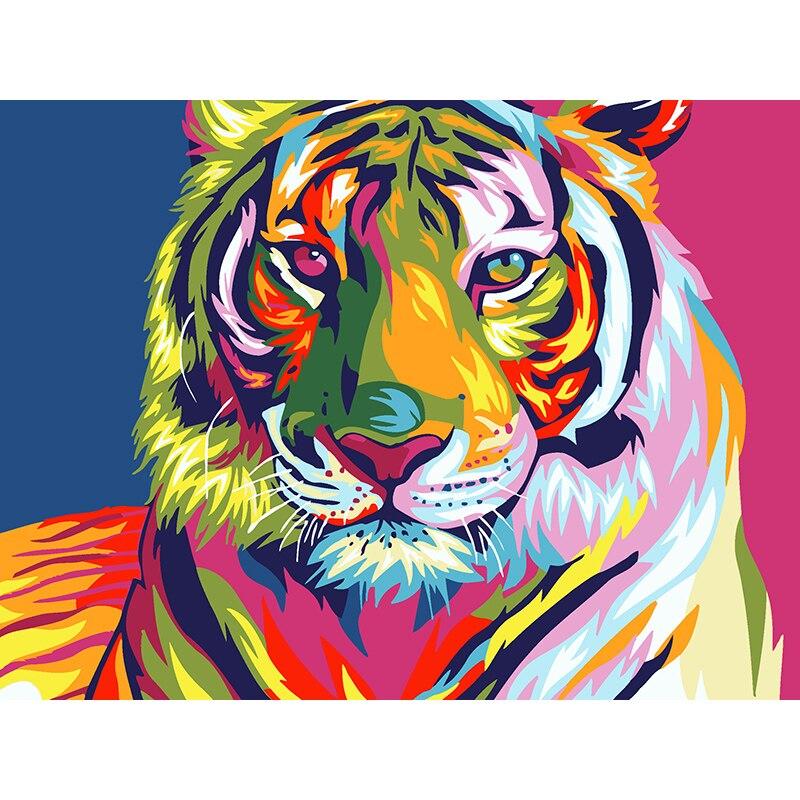 Sin marco pintura al óleo por números en lienzo gato Tigre águila cebra imagen pared decoración pintura al óleo colorante por número dibujo animales