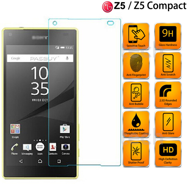 sony z5 compact. 9h anti-shock tempered glass film for sony xperia z5 / compact screen protector