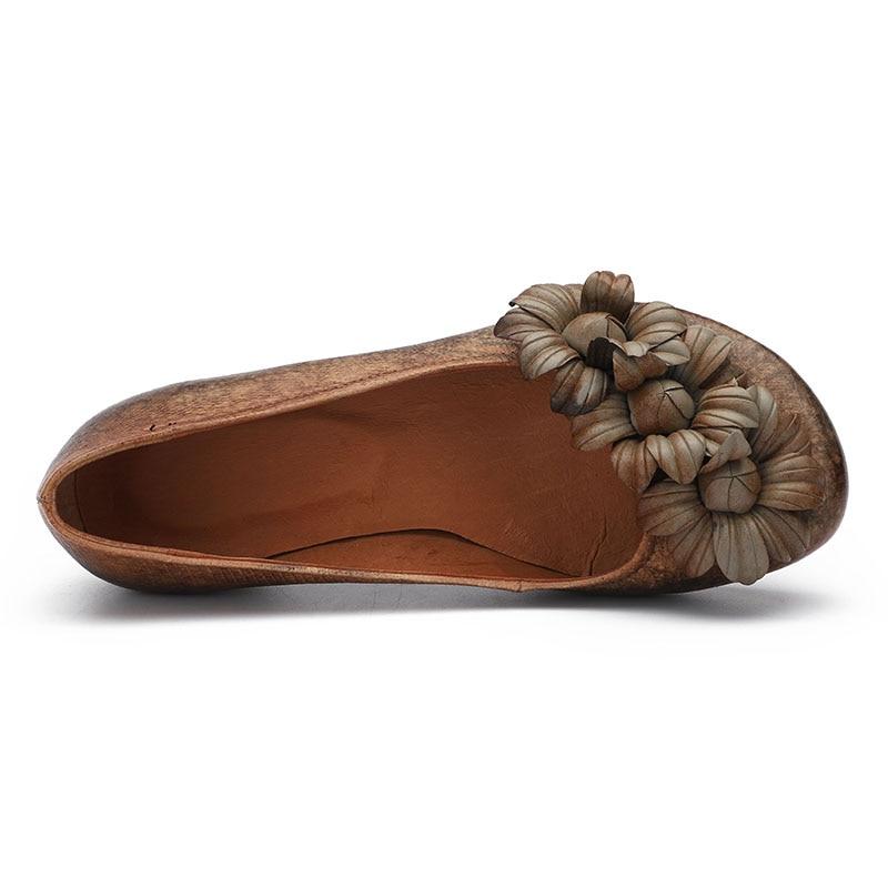 Marron En Fleur Talon Main Nouveau À Femme Talons Haut Chaussures La Naturel Faible Pour 2019 Vintage Cuir T8wRx