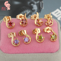 golden Plated Top Quality Shining Crystal Five-pointed star stud Earrings (kuniu ERZ0040)