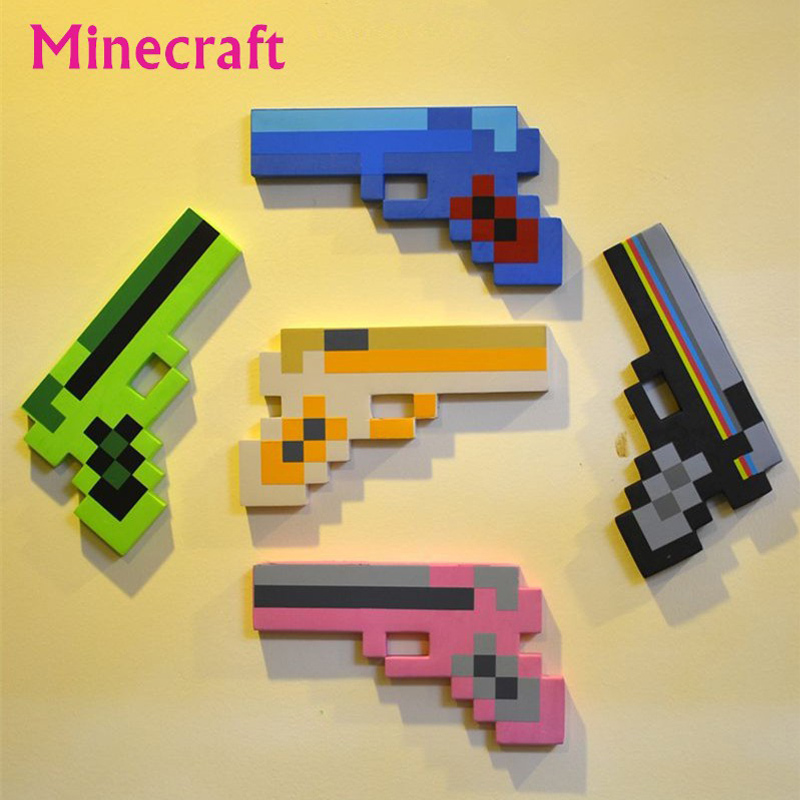 5Pcs/lot Minecraft Toys Foam Sword Pickax Gun Toys Minecraft Gun Model Toys EVA Props Weapon Outdoor Toy for Kids Game boys gift