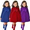 2016 Crianças de Moda Meninas Longa Jaqueta Crianças Casaco de Inverno Quente Menina Arco Decoração Inverno Outwear Vermelho Cor Roxa Azul