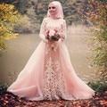 Romantic manga larga vestidos de baile 2017 apliques de baile vestidos de noche de lujo musulmán prom dress personalizar wh51