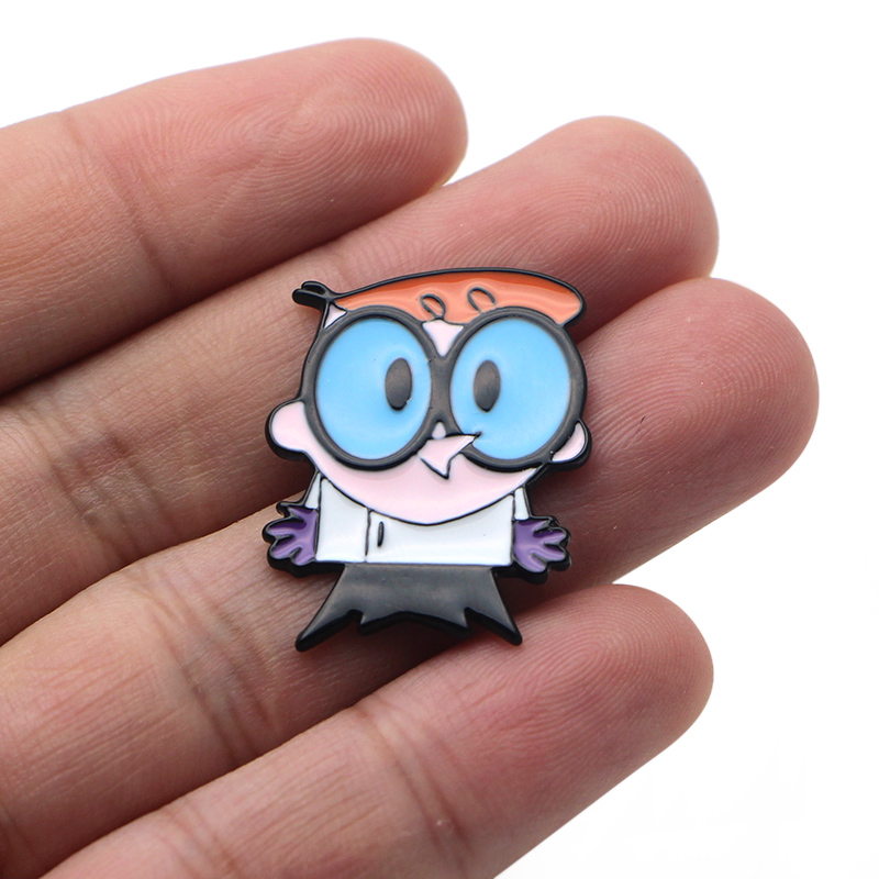 Dexter 39 s Laboratory Zinc alloy tie pins badges para shirt bag clothes cap backpack shoes brooches medal decoration E0204 in Badges from Home amp Garden