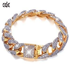 CDE золотой браслет, украшенный кристаллами, мужской Iced Zircon Miami, кубинский браслет, ювелирное изделие