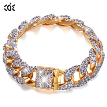 CDE Gold Bracelet Embellished with crystals Men's Iced Zircon Miami Cuban Jewelry - discount item  44% OFF Fine Jewelry