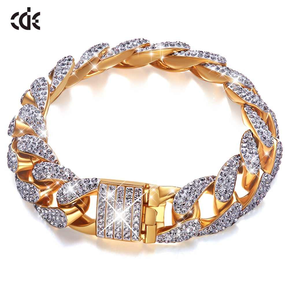 CDE Gold Bracelet Embellished with crystals Men's Iced Zircon Miami Cuban Bracelet Gold Silver Bracelet Jewelry