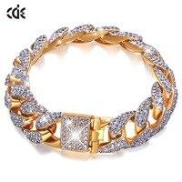 CDE Gold Bracelet Embellished with crystals from Swarovski Men's Iced Zircon Miami Cuban Bracelet Gold Silver Bracelet Jewelry