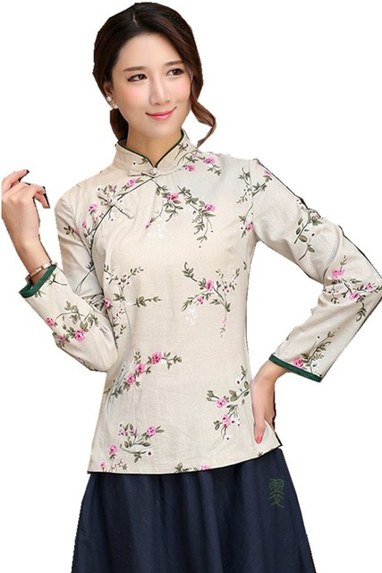 6392595d766 Shanghai Story Chinese Button chinese top Long Sleeve Cheongsam top  traditional Chinese Top Women s Linen blouse
