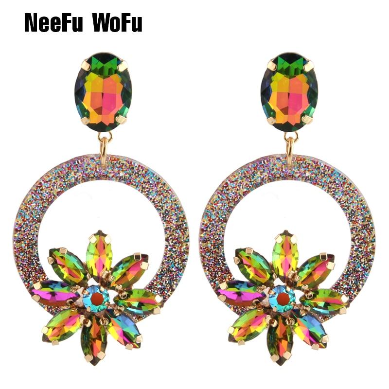 NeeFu WoFu Drop Resin Earrings Brand Crystal Earring Big Earring Large Long Brinco Ear Accessories Oorbellen Christmas Gift