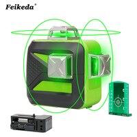 12 линий литиевая батарея зеленый лазерный уровень 360 вертикальный и горизонтальный самонивелирующийся перекрестный 3D лазерный уровень