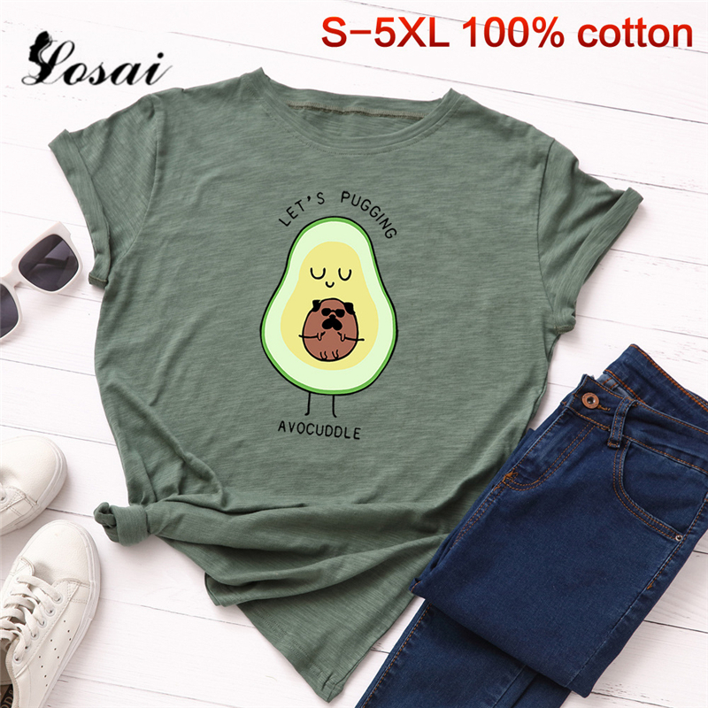 Women T Shirts 3XL 4XL 5XL Plus Size T-shirt Cartoon Avocado Pattern Print Short Sleeve Tops Korean Tshirt Harajuku Tee Shirts