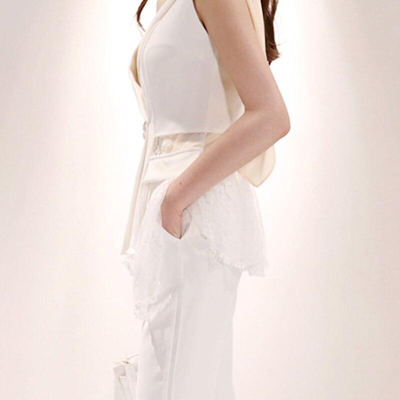 Décontracté femmes pantalons costumes dentelle Patchwork gilet Blazer veste et taille haute crayon pantalon décontracté 2 pièces ensemble femme blanc travail costumes - 4