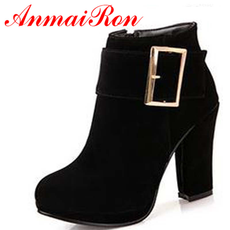 ANMAIRON New  Round Toe Buckle Boots For Women sexy ankle boots heels fashion winter shoes cusual snow boots shoes free shipping new mbx 243 rev 1 1 main board for sony vaio vpc f2 laptop motherboard gt540 1gb