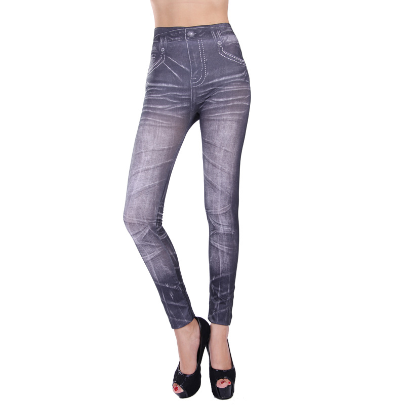 Woman Sexy High Waist Jeans Slim Leggings Stretchy Fashion Slim Women Leggings Faux Denim Jeans Leggings Sexy Long Pocket