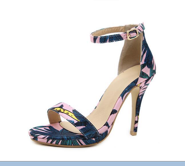 Brand women's shoes 2018 summer new classic print high-heeled sandals beautiful design sexy elegant banquet sandals wedding shoe
