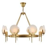 Europea медная подвеска свет 8 свет мраморные абажур E27 светодиодные лампы Кунг гостиной столовой украшения дома ручной работы пайки