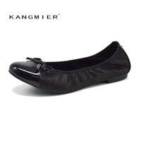 أحذية النساء الباليه الشقق الأسود براءات جلد سحلية خليط مطوي نشمر جولة تو مع القوس عقدة kangmier