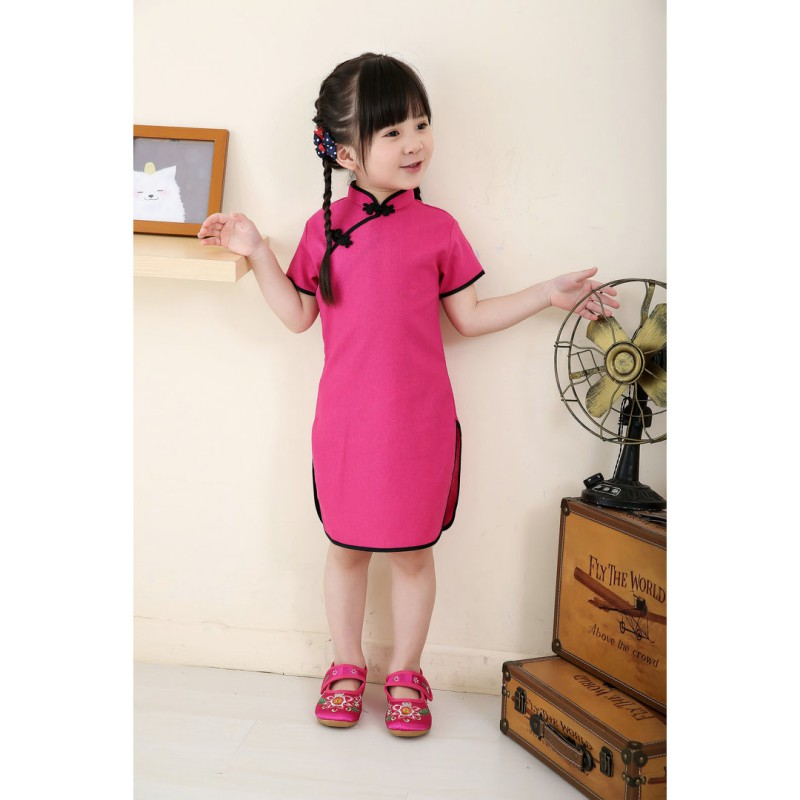 0~5 Years Chinese Girls Dress Solid Pink BabyGirl Clothes QIPAO Cheongsam Cotton Traditional Dresses girl