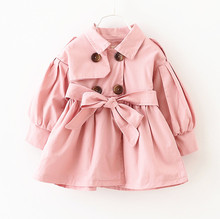 Girls Trench Coats Double Breasted England Style Solid Baby Girls Jacket Spring Autumn Turn-down Collar Fille Windbreake Outwear
