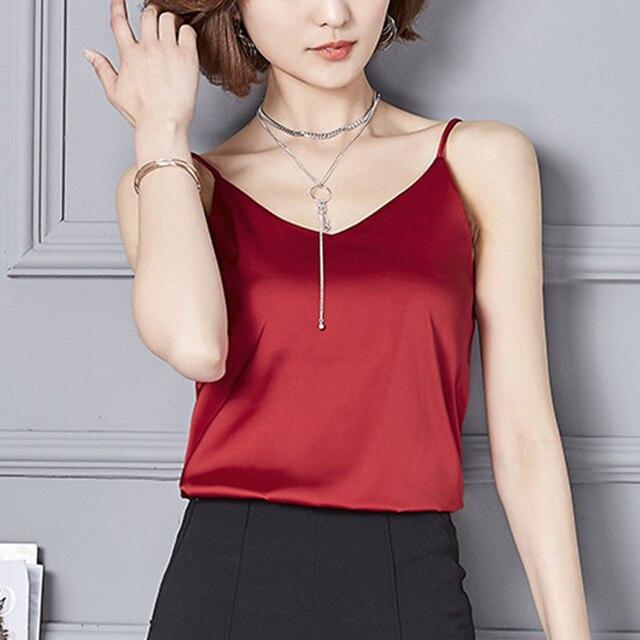 293592c4223e5 pink red gray green black women camis top chiffon satin silk Camisole Sexy  casual spaghetti strap