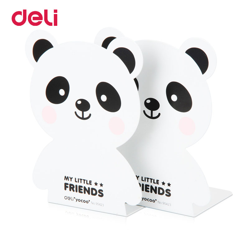 Deli Korea Creative Book Holder 2Pcs/Set Metal Bookends Decorative Bookend Cute Animal Book Holder for Reading Support Kid Gifts creative katana bookend home decorative magnet katana bookends as book stand book reading holder