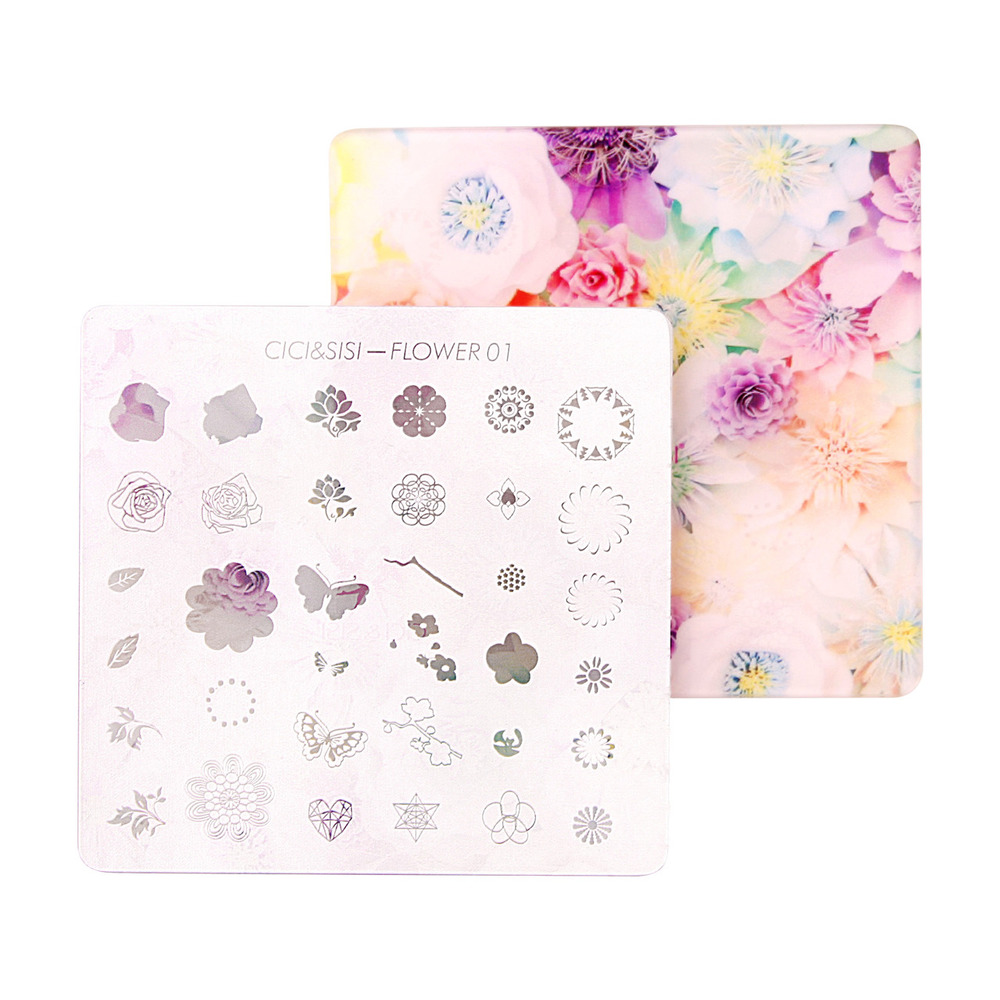 CICI&SISI Acrylic Layered Nail Art Stamping Plate Decorations Konad Stamping Manicure Template Stamp Flower and Bird 01-04 4pcs christmas halloween owl 4 design stainless steel nail plates nail art image konad print stamp stamping manicure template