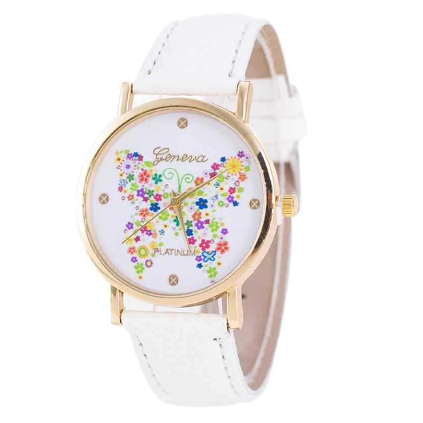 Fashion Women Watches Casual Dress Butterfly Pattern Leather Band Quartz femme Wrist Watches relogio feminino hombre Gift #C