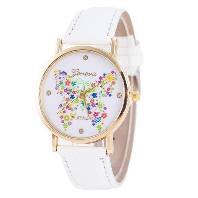 Fashion Women Watches Casual Dress Butterfly Pattern Leather Band Quartz femme W