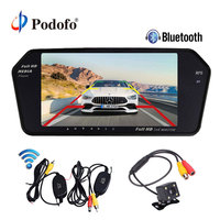 Podofo Bluetooth & Handsfree Ultra Slim 7'' Car Mirror Monitor Rearview Monitor MP5 Player Wireless Backup Camera Parking System